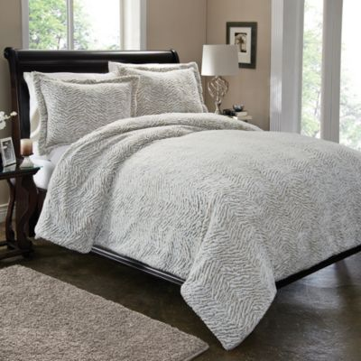 Carved Fur Duvet Cover Set in Tan