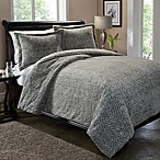 Carved Fur Duvet Cover Set in Silver