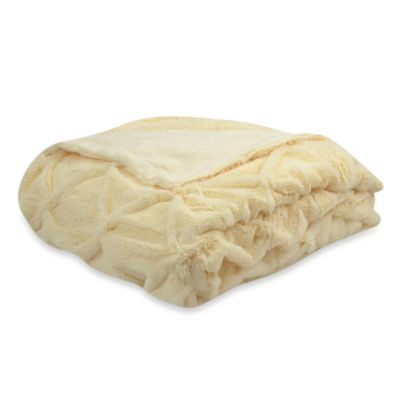 Brianna Faux-Fur Cream Reversible Throw Blanket