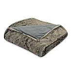 Coyote Faux Fur Grey Reversible Throw Blanket