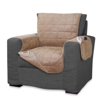 Perfect Fit® Microsuede Heated Chair Protector in Tan