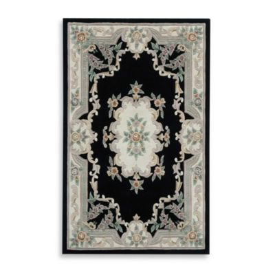 Rugs America New Aubusson 6-Foot Round Rug in Black