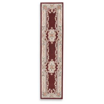 Rugs America New Aubusson 2-Foot 3-Inch x 10-Foot Runner in Burgundy