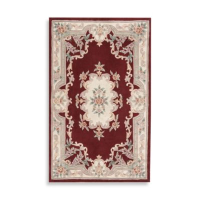 Rugs America New Aubusson 2-Foot x 4-Foot Rectangular Rug in Burgundy