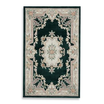 Rugs America New Aubusson 6-Foot Round Rug in Emerald