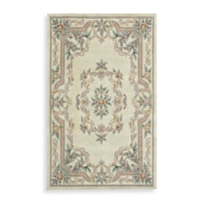 Rugs America New Aubusson 2-Foot x 4-Foot Rectangular Rug in Ivory