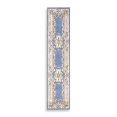 Rugs America New Aubusson 2-Foot 3-Inch x 10-Foot Runner in Light Blue