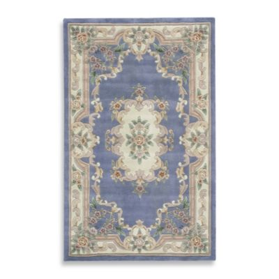 Rugs America New Aubusson 8-Foot x 11-Foot Rectangular Rug in Light Blue