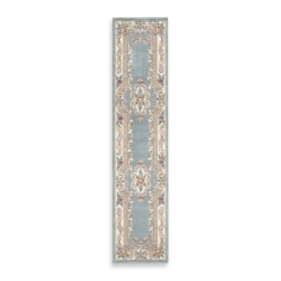 Rugs America New Aubusson 2-Foot 3-Inch x 10-Foot Runner Rug in Light Green