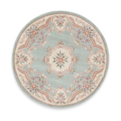 Rugs America New Aubusson 6-Foot Round Rug in Light Green