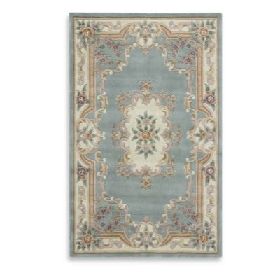 Rugs America New Aubusson 2-Foot x 4-Foot Rectangular Rug in Light Green