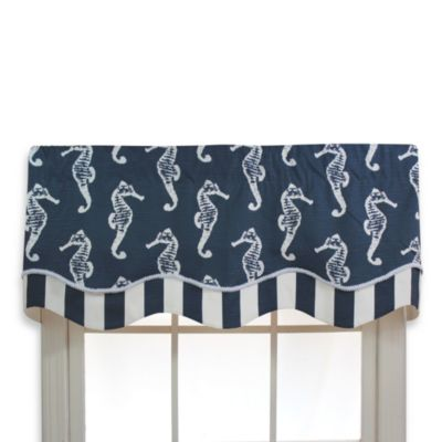 RL Fisher 50-Inch x 17-Inch Sea Horse Glory Valance in Navy