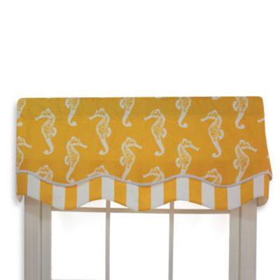 RL Fisher 50-Inch x 17-Inch Sea Horse Glory Valance in Yellow