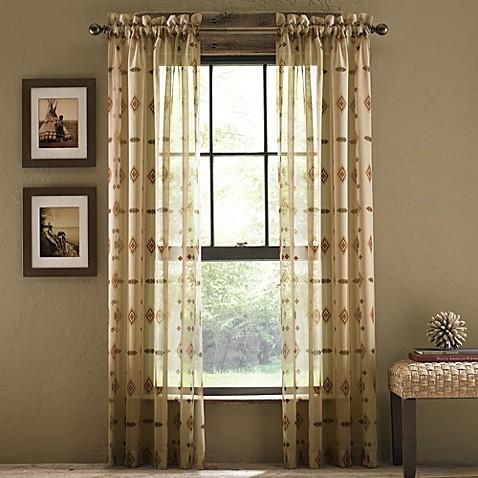 Buy croscill chimayo sheer rod pocket 108 inch window for Linen sheer window panels