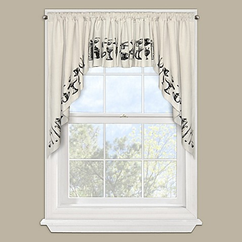 Tea Time Window Curtain Swag Valance Pair in Black