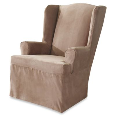 Sure Fit® Soft Suede Wing Chair Cover in Taupe