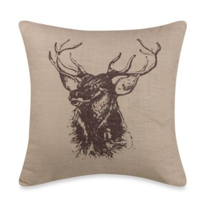 Linen Elk Throw Pillow