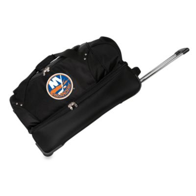 Denco Sports NHL New York Islanders 27-Inch Drop Bottom Rolling Duffel Bag