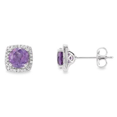 February Birthstone Earring Set with Created Amethyst