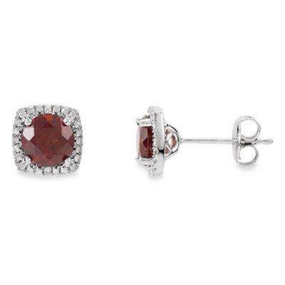 January Birthstone Earring Set with Created Garnet