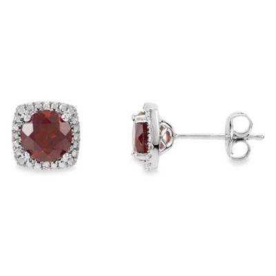 January Birthstone Earring Set with Created Garnet