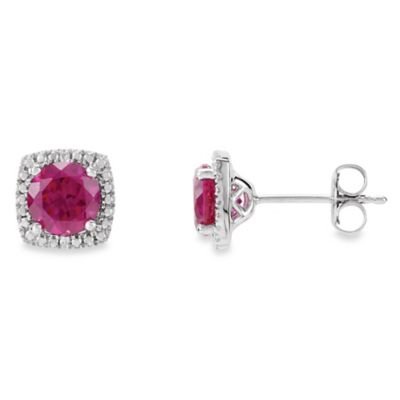 July Birthstone Earring Set with Created Ruby