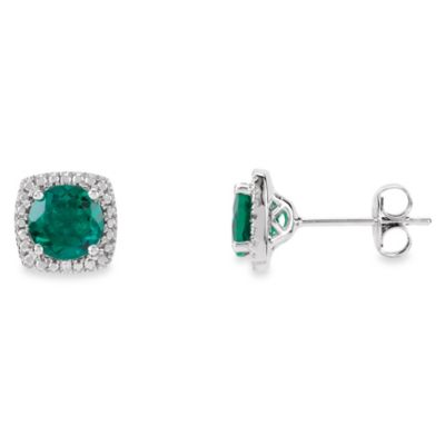 May Birthstone Earring Set with Created Emerald