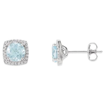 December Birthstone Earring Set with Created Sky Blue Topaz