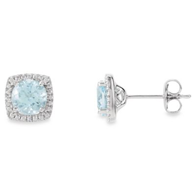 March Birthstone Earring Set with Created Aquamarine