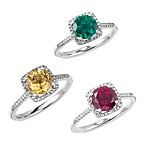 Sterling Silver Diamond and Created Gemstone Size 7 Birthstone Ring