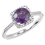 Sterling Silver Diamond and Created Amethyst Size 7 Birthstone Ring