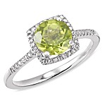 Sterling Silver Diamond and Created Peridot Size 7 Birthstone Ring