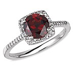 Sterling Silver Diamond and Created Garnet Size 7 Birthstone Ring