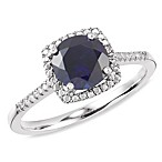 Sterling Silver Diamond and Created Sapphire Size 7 Birthstone Ring