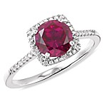 Sterling Silver Diamond and Created Ruby Size 7 Birthstone Ring
