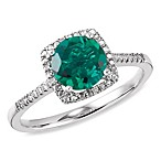 Sterling Silver Diamond and Created Emerald Size 7 Birthstone Ring