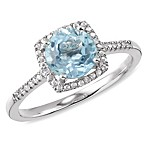 Sterling Silver Diamond and Created Blue Topaz Size 7 Birthstone Ring