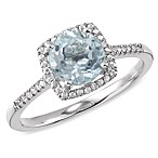 Sterling Silver Diamond and Created Aquamarine Size 7 Birthstone Ring