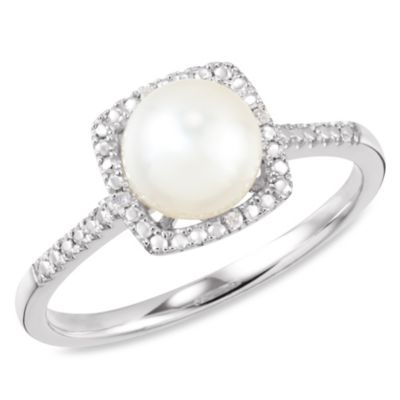 Sterling Silver Diamond and Freshwater Pearl Size 7 Birthstone Ring