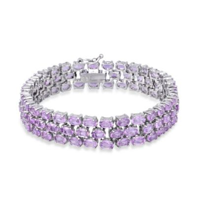 Sterling Silver 3-Tiered Oval Amethyst Gemstone Bracelet