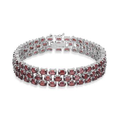 Sterling Silver 3-Tiered Oval Garnet Gemstone Bracelet