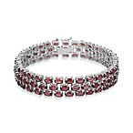 Sterling Silver 3-Tiered Oval Garnet Gemstone Bracelet