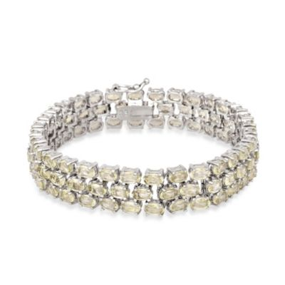 Sterling Silver 3-Tiered Oval Citrine Gemstone Bracelet