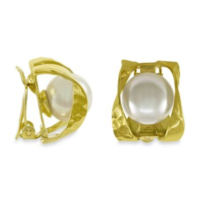 Majorica 10MM Round White Pearl Ribbon Clip-On Earrings in Gold over Sterling Silver