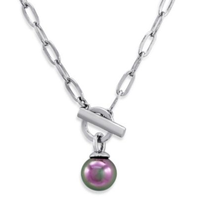 Majorica 12MM Round Grey Simulated Pearl Toggle Clasp Pendant in Sterling Silver