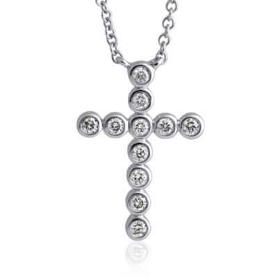 Violet and Sienna 14K White Gold 0.18 cttw Diamond Bezel Set Cross Pendant