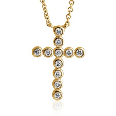 Violet and Sienna 14K Gold 0.18 cttw Diamond Bezel Set Cross Pendant