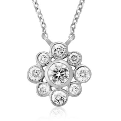 14K White Gold .36 Pavé Diamond Flower Pendant