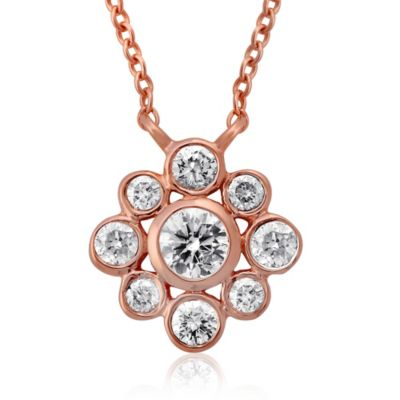 14K Pink Gold .36 Pavé Diamond Flower Pendant