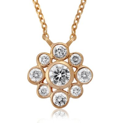 Violet and Sienna 14K Yellow Gold .36 Pavé Diamond Flower Pendant